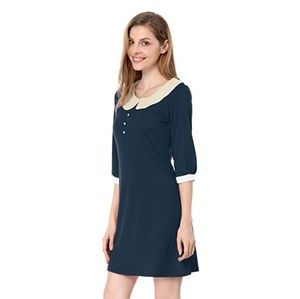 Allegra K Blue White Peter Pan Collar Dress L